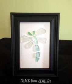 Framed Sea Glass Art Dragonfly