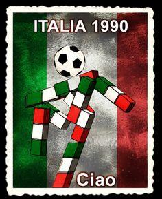 Ciao fue la mascota de la Copa Mundial de Fútbol Italia 1990. Su nombre es ¡Hola! en italiano. Él es un personaje cuya figura se forma por cubos, con los colores propios de la bandera del país anfitrión, y su cabeza es un balón de fútbol. Football Cards, Football Jerseys, Football Players, World Cup Logo, Badger Sports, Logo Nasa, Fifa, Soccer, Everton Fc