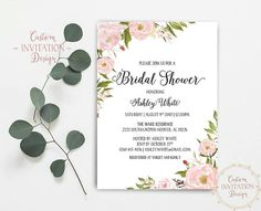 Bridal Shower Invitation, Bridal Shower Invite, Bridal Shower Printable, Floral Bridal Shower, Chic Bridal Shower, DIY Bridal Shower   This listing is for a DIGITAL FILE(S) only. You will receive PRINTABLE high resolution digital file(s), customized with your own details. NO physical product will be shipped to you. You can print as many as you want!  - Bridal Shower Invitation 5 x 7 (fits into A7 envelope)  Please note that colors may vary from computer to computer and printer to printer due…