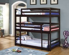 The Coaster Triple Twin Bunk Bed is ideal for a room shared by siblings. The included ladder makes it easy to get in and out of each bed. Bed rails will keep the upper bunks safe. Bunk Beds Small Room, Modern Bunk Beds, Cool Bunk Beds, Bunk Beds With Stairs, Twin Bunk Beds, Kids Bunk Beds, Small Rooms, Loft Beds, Bed Stairs