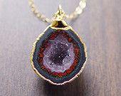 Burgundy Geode Druzy Necklace in 14k gold OOAK