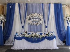 Wedding table bride and groom backdrops backgrounds 52 ideas Blue Wedding Decorations, Quinceanera Decorations, Wedding Themes, Wedding Designs, Wedding Colors, Wedding Reception Backdrop, Wedding Stage, Our Wedding, Elegant Table Settings