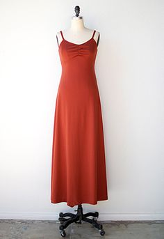 vintage 1970s rust red maxi boho dress