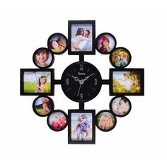 17 Stories This multi-functional wall clock comes with photo frames which hold up to 12 photographs around the hours. It is perfect for use in any room including the kitchen, living room, bedroom, hallway and study room. Wall Clock Photo Frame, Frame Wall Collage, Wall Clock Gift, Photo Clock, Frames On Wall, Wall Clock With Pictures, Aperture Photo, Photo Picture Frames, Kitchen Living