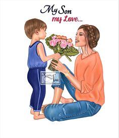 Mom Drawing, Cartoon Girl Drawing, Girl Cartoon, Cartoon Art, Cute Girl Drawing, Mother Daughter Art, Mother Art, Cute Tumblr Wallpaper, Cute Disney Wallpaper