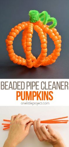 How to Make Beaded Pipe Cleaner Pumpkins - One Little Project