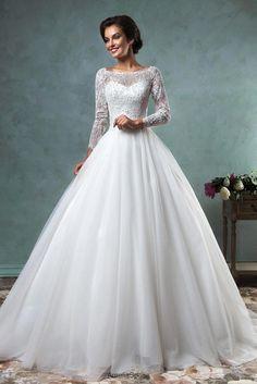 b523a8ec5ec1 amelia sposa 2016 wedding dresses bateau neckline lace long sleeves beaded  embellishment tulle skirt a line ball gown wedding dress jessica -- Amelia  Sposa ...