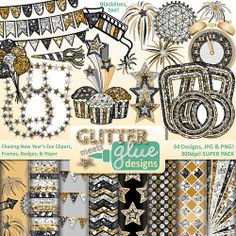 Chasing New Year's Eve Clipart, Frames, Badges & Paper #education #clipart #teacherspayteachers #newyears #cupcake #balloons