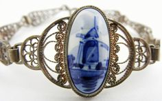 Vintage Delft Bracelet Silver Filigree Verwoerd by TidBitz on Etsy, $70.00