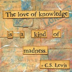 "CS Lewis quote ""The love of knowledge is a kind of madness. but what a wonderful journey of madness it is! Great Quotes, Me Quotes, Quotes To Live By, Inspirational Quotes, Quirky Quotes, Random Quotes, People Quotes, Lyric Quotes, Motivational"