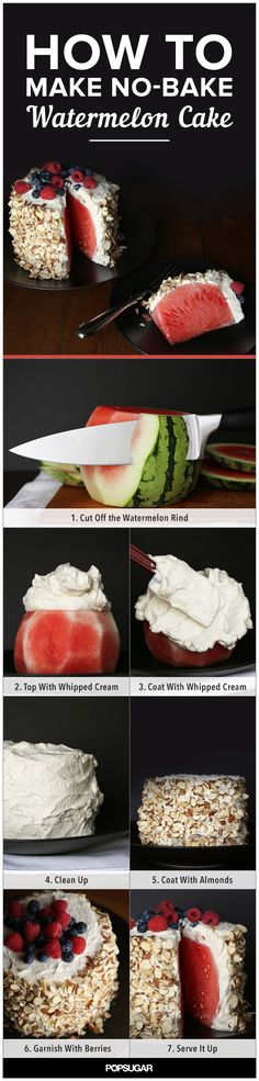 I don't even have a vent in my kitchen, so the thought of baking on a scorching Summer day is completely out of the question. Thankfully, there are ways to skirt around the oven issue, like with this no-bake watermelon cake. The catch is, there is no cake! A miniwatermelon, whipped cream, slivered almonds, and berries are all you need to create this Pinterest-worthy dessert for 12.