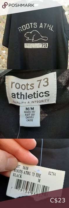 Black nwt men's Roots tshirt New with tags men's Roots tshirt. Shipping out of Toronto. Roots Shirts Tees - Short Sleeve Blue And White Cardigans, Blue And White Shorts, Black And White Man, Orange T Shirts, Yellow T Shirt, Vintage Shorts, Vintage Tees, Roots, Toronto