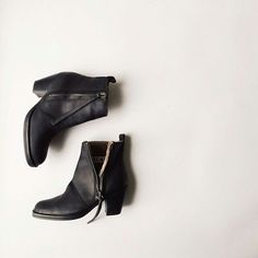 Matte black leather Acne pistol boots. I need these in my life more than anything else.