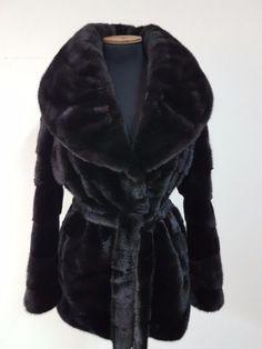 REAL NEW MINK FUR COAT FULL SKINS DARK BROWN SAGA FUR MEXA PELZMANTEL FOX SABLE  #Handmade #BasicCoat