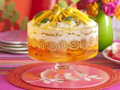 Mango and passionfruit trifle w/coconut flavored white rum: BHG Mango Trifle Recipes, Fruit Trifle Desserts, Jello Recipes, Shot Recipes, Easy Desserts, Delicious Desserts, Dessert Recipes, Yummy Food, Recipies