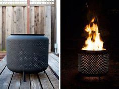 Fire pit made from dryer drum.