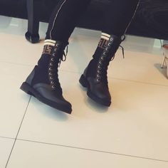 13da449926a Fendi Leather Combat Boot with FF Cuff | Products | Combat boots ...