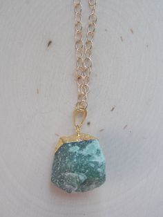 Jade Necklace / Raw Jade Necklace / Gold Dipped Jade Necklace / Jade Pendant / Jade Jewelry / Raw Gemstone / Gemstone Necklace / Jadeite by MalieCreations on Etsy