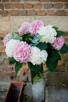 white pink hydrangeas weddings centerpieces, Chateau de la Ferte Saint