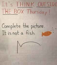 It's Think Outside the Box Thursday. 🙌 Complete the picture. One thing is for sure. It's not a cloud.☁️ From popcorn to a Dogman to a… Classroom Fun, Future Classroom, Primary Classroom Displays, Teaching Art, Teaching Resources, Responsive Classroom, Ecole Art, Social Emotional Learning, Thinking Outside The Box