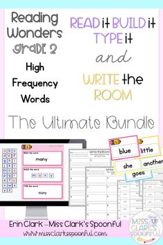 Save BIG & receive two separate bundled resources for Second Grade Reading Wonders High Frequency Words: Google Slides™ Read It, Build It, Type It & Write the Room! Each resource features ALL 300 high frequency words included in Second Grade Reading Wonders 2017. #missclarksspoonful #highfrequencywords #writetheroom #secondgrade #literacycenters #distancelearning #wordwork #sightwords #readingwonders #guidedreading #remoteteaching #ela #spellingwords #secondgradewords Co Teaching, Teaching Reading, Reading Resources, Teacher Resources, 2nd Grade Activities, Reading Wonders, English Reading, High Frequency Words, Literacy Stations