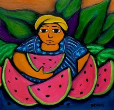 """watermelon, guatemalan painting I'd like to call this """"Guatermelon""""."""