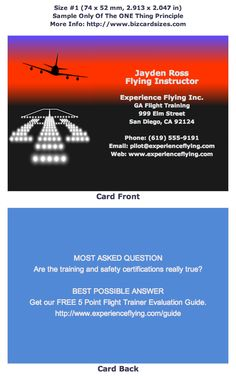 Size 1 Business Card For A Flight Instructor Learn To Choose And Use At Bizcardsizes