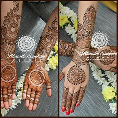 One of my brides from the super busy Easter week bridals last year. Picture taken before dipping the finger tips. My 1st bride this Easter week, the lovely Aarti Assi wanted a mandala bridal & seemed to have set the trend for the rest of the brides I did after.  www.ArtisticHenna.com https://www.facebook.com/bharathisanghani