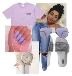 """Ice Melts~Drake, Young Thug"" by qveenpolyvore ❤ liked on Polyvore featuring Olivia Burton, Ray-Ban and Sydney Evan"