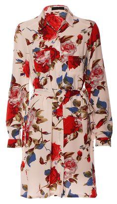 Stylish Rich Red Floral Shirt Dress - Donna Marina