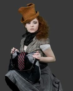 Upcycled tie bag by Impressions Felt, Horst Couture Felt Hat