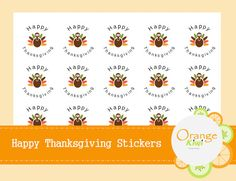 Happy Thanksgiving Stickers Turkey Stickers by OrangeKiwiDesign Happy Thanksgiving, Turkey, Stickers, Handmade, Hand Made, Happy Thanksgiving Day, Sticker, Decal, Decals