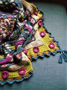 Hibiscus Tea Floral Block Extension Crochet pattern by Jen Tyler Crochet Mandala Pattern, Freeform Crochet, Crochet Blanket Patterns, Crochet Shawl, Crochet Stitches, Knit Crochet, Scrap Yarn Crochet, Crochet Blocks, Crochet Squares