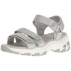 Skechers Cali Women's D'Lites-Fresh Catch Wedge Sandal, Grey, 5 M US