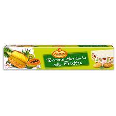 Oliviero Torrone Morbido alla Frutta Bar - Italian Tropical Fruit Nougat Candy - Pineapple, Kiwi, Papaya Almond