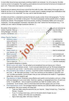 sample teacher cover letter