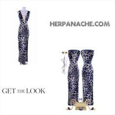 Blue White Gold Giraffe Animal Print Cross Strap Sleeveless Maxi Dress from HerPanache.com on Storenvy