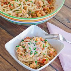 Delicious Shrimp Scampi with Bacon over noodles. You must try this recipe if you love shrimp scampi, the bacon adds that extra bit of flavor that is to die for.