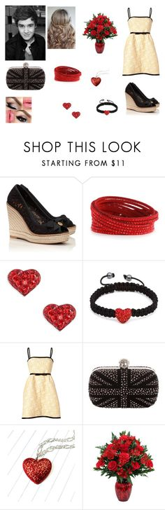 """Valentine's Day with Liam"" by cherylkinberg97 ❤ liked on Polyvore featuring Tory Burch, Swarovski, Shamballa Jewels, Valentino, Alexander McQueen, Payne, LiamPayne, Heels, curlyhair and roses"