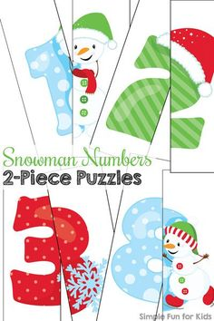 Does your toddler love puzzles? Use them as an introduction to number recognition with these cute printable Snowman Numbers 2-Piece Puzzles! (Day 4 of the 24 Days of Christmas Printables for Toddlers.)