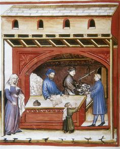 Tacuinum Sanitatis (ÖNB Codex Vindobonensis, series nova 2644), c. 1370-1400, The salt-seller (fol. 5r)