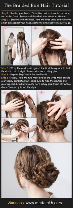 The Braided Bun Hair Tutorial @Hannah Mestel Mestel Jeffress this is the one I was telling you about!