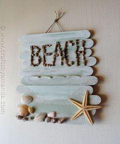 Craft Stick Beach Plaque - Crafts by Amanda