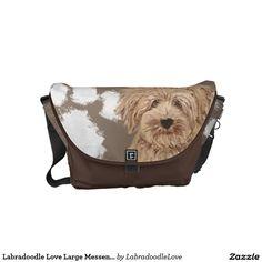 Labradoodle Love Large Messenger Bag | Pet cartoon