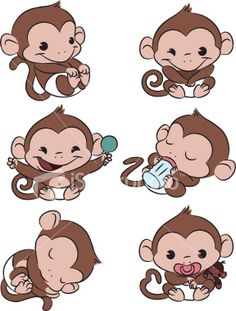 Baby Monkey Time! Royalty Free Stock Vector Art Illustration