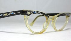 Vintage 60s Cat Eye Eyeglass Frames. Black by CollectableSpectacle