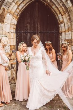 The Bell in Ticehurst | Bespoke Lace Emma Tindley Wedding Dress | Pastel Pink ASOS Bridesmaid Dresses | Wild Bouquets | Lemonade Pictures | http://www.rockmywedding.co.uk/anna-tom/
