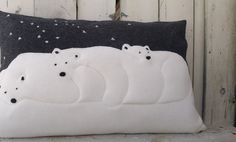 Polar bears appliqué cushion cover