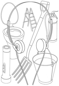 Michael Craig- Martin: such a jumble of everyday objects, so neatly organised and categorized, with the headphones forming a kind of frame. Tiny ladder and toilet next to out sized spade and torch Outline Art, Outline Drawings, James Rosenquist, Michael Craig, Still Life Artists, Ligne Claire, Claes Oldenburg, A Level Art, Jasper Johns