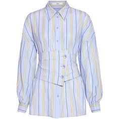 removable corset belt striped shirt by Tibi Kpop Fashion Outfits, Fashion Dresses, Womens Fashion, Corset Belt, Dress Shirts For Women, Jennie Blackpink, Korean Fashion, Colorful Shirts, Ideias Fashion